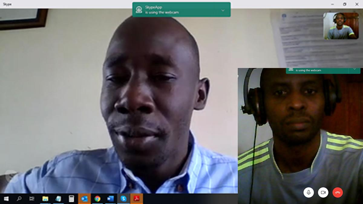 A collaborative skype meeting with Mr Ambrose Ogwang (Left), LWF Area Coordinator, Rwamwanja Refugee Settlement